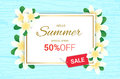 Summer Plumeria Flowers frame or Summer floral Royalty Free Stock Photo