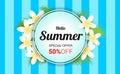 Summer Plumeria Flowers frame or Summer floral Design on stripe Royalty Free Stock Photo