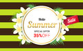 Summer Plumeria Flowers gold frame or Summer floral Design on st Royalty Free Stock Photo