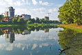 Summer pond at the end of the city in a clear sunny day Royalty Free Stock Photography