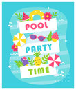 Summer Pool or Beach Party Poster or Invitation Card.