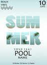 Summer pool party.Poster template.Vector illustration