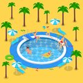 Summer pool party, vector 3d isometric illustration. Summer vacation in resort. People have a rest by the swimming pool