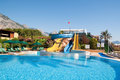 Summer pool and water slides Royalty Free Stock Photo