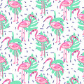 Summer pop art flamingo and palm tropic branches seamless pattern.