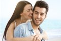 Summer portrait of happy loving couple young romantic smiling Royalty Free Stock Photos