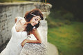 Summer portrait of young brunette bride outdoor Stock Image