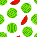 Summer positive vector seamless background with big watermelon. Visual vitamins pattern. Green and red watermelon slice Royalty Free Stock Photo