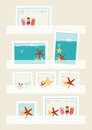 Summer postage stamps collection displayed in philatelic pockets with colourful designs of icecream lollies and starfish vector Royalty Free Stock Photos