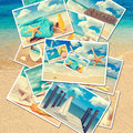 Summer postcards collection of against a beach background Royalty Free Stock Photo