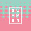 Summer poster abstract vector background with two color halftone and text. Soft, gentle pastel pink and blue colors Royalty Free Stock Photo