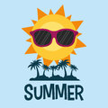 Summer poster palms sun glasses Royalty Free Stock Photo