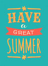 Summer poster typographic design in bright blue and yellow Royalty Free Stock Photography