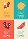 Summer posters collection a set of four minimalist themed Stock Photography