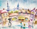 Summer rain city scene people in the town square at picture created with watercolors Stock Photography