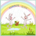 Summer rain gladness nice hare under Royalty Free Stock Image