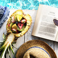 Summer Relax Poolside Reading Book Concept Royalty Free Stock Photo