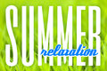 Summer relaxation background grassy green grass or plant foliage close up with typography that reads Stock Images