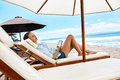 Summer Relaxation. Woman Reading, Relaxing On Beach. Summertime Royalty Free Stock Photo