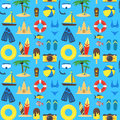 Summer Rest Background Pattern on a Blue. Vector Royalty Free Stock Photo