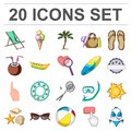 Summer rest cartoon icons in set collection for design. Beach accessory vector symbol stock web illustration.