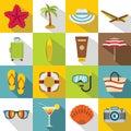 Summer rest icons set, flat style Royalty Free Stock Photo