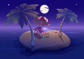 Summer night with palm leaves