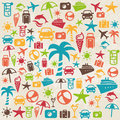 Summer retro background with icons representing holidays and traveling Stock Image