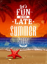 Summer retro poster seascape with vintage typography vector illustration Stock Images