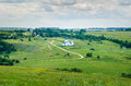 Summer rural landscape with church view of Royalty Free Stock Photography