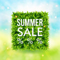 Summer sale advertisement poster blurred background with bokeh effect square shape made of leaves vector illustration Royalty Free Stock Photography