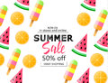 Summer sale background with colorful ice cream, slice watermelon and orange. Vector illustration template, banners. Wallpaper, fly