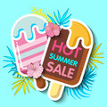 Summer sale background with tropical palm leaves and ice-cream_1 Royalty Free Stock Photo