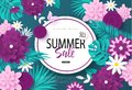 Summer sale banner.Background with flowers, butterflies and tropical leaves. Vector illustration for posters, coupons
