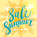 Summer Sale banner for business, promotion and advertising. Vector illustration. Sun on the beach yellow background with palm. Royalty Free Stock Photo