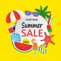 Summer Sale banner with colorful beach elements. Summer sale background with palm, surfboard, watermelon, sunglass Royalty Free Stock Photo