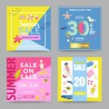 Summer Sale Banner Set with Beach Elements. Discount Poster Templates. Hand Drawn Promotional Design for Flyers Royalty Free Stock Photo