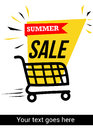 Summer sale banner with shopping trolley Royalty Free Stock Photo