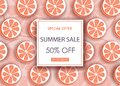 Summer sale banner with sliced grapefruit pieces and dotted pattern. Orange background - template for seasonal discounts, vector