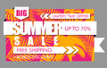 Summer sale banner with tropical exotic palm leaves and plant orange and pink background. Vector bright floral design white text Royalty Free Stock Photo