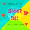 Summer sale banner with with a watermelon, a heart and palm leaves on a colorful background. Vector illustration template and