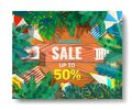 Summer sale beautiful web banner. Top view on seashells, sun glasses, fresh cocktail, smartphone and sea sand on wooden Royalty Free Stock Photo