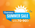 Summer Sale bule tag heading design on orange for banner or pos
