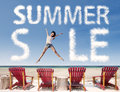 Summer sale cloud with girl jumping over beach chairs portrait of Royalty Free Stock Photo