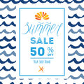 Summer sale concept banner with sea waves, seashell, seastar and lettering element Royalty Free Stock Photo