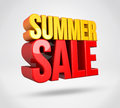 Summer sale d render text on isolated background Royalty Free Stock Photos