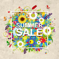 Summer sale design, floral frame on cardboard paper Royalty Free Stock Photo