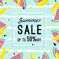 Summer sale design template. pattern with fruits, banana, watermelon and geometric elements in memphis style background
