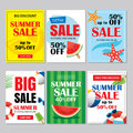 Summer sale emails and banners mobile templates. Vector illustrations for website, posters, brochure, voucher discount, flyers, n