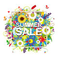 Summer sale, floral frame for your design Royalty Free Stock Photo